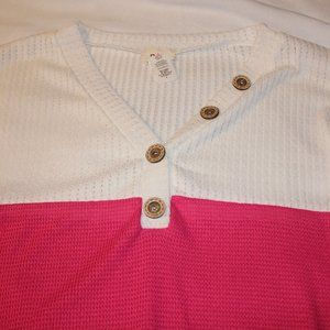 NEVER WORN - White/Hot Pink/Black w/Button Accent